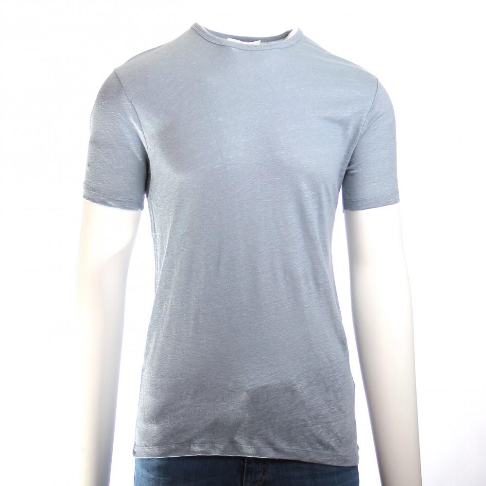 Tee-Shirt en Lin Lavé : Bleu nuage - Manches courtes (Tee-shirt)