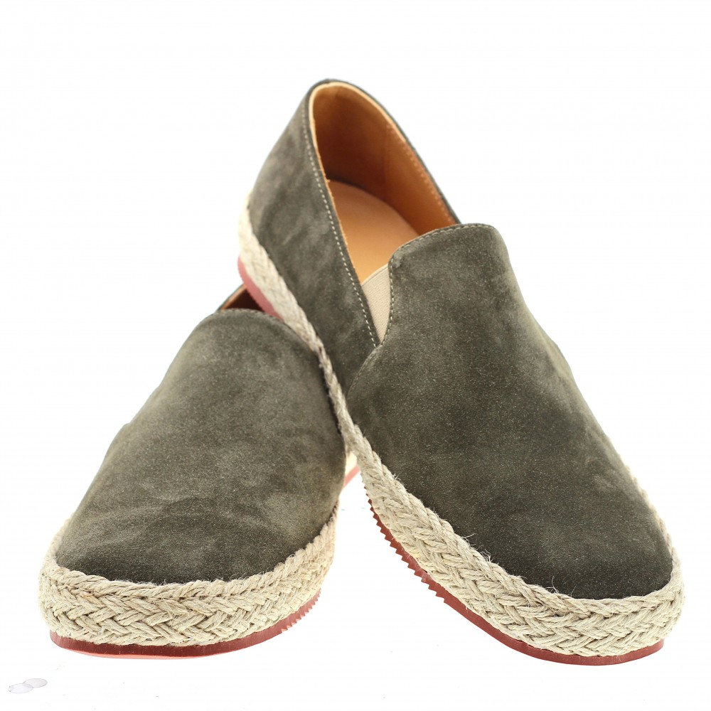 Espadrilles : Espadrilles : kaki - veau velours- made in italy (Shoes)