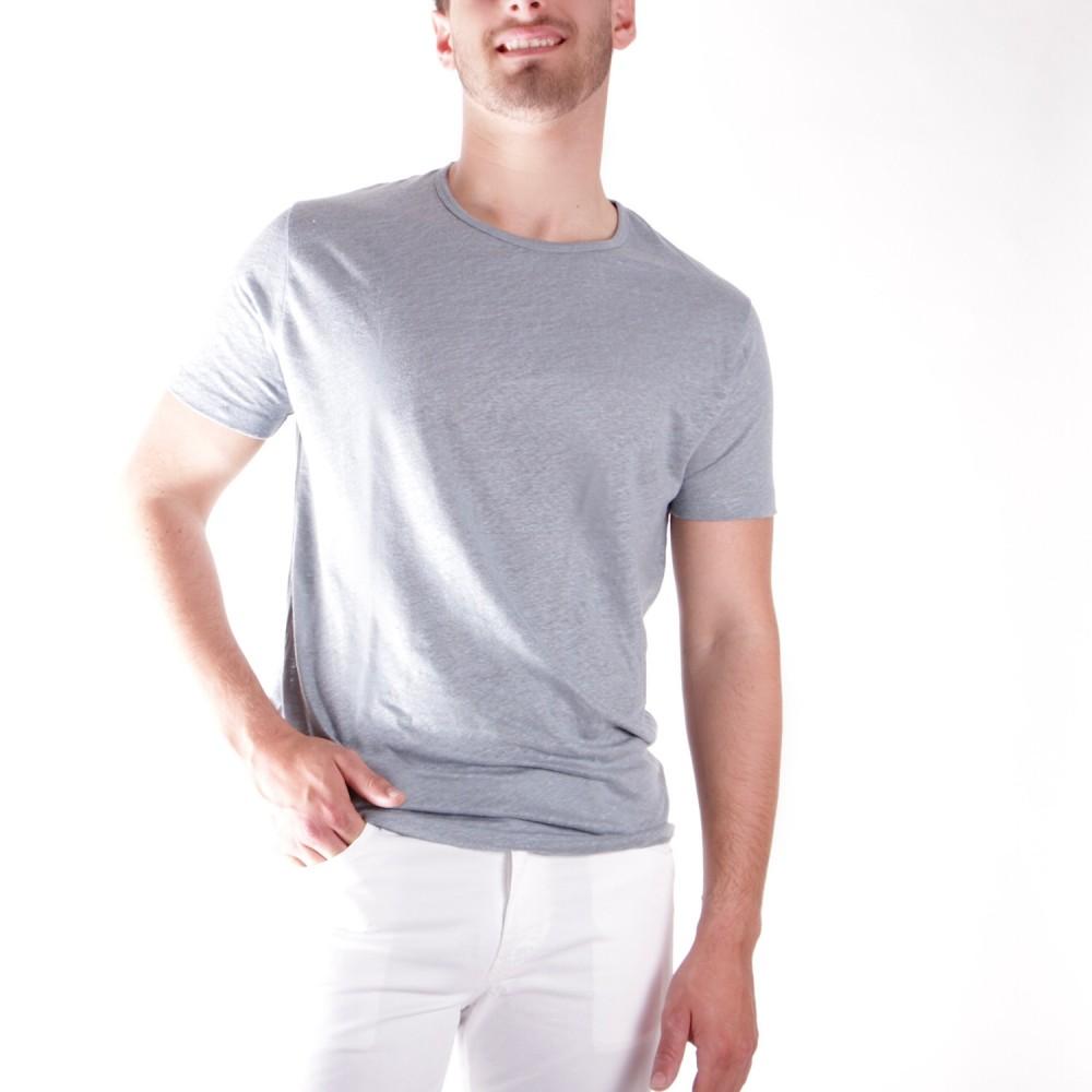 Tee-Shirt en Lin Lavé Bleu Nuage Manches courtes