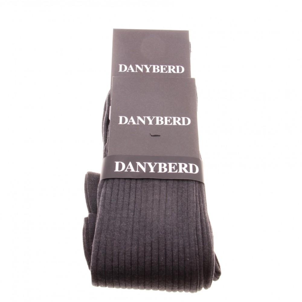 Chaussettes grises avec côtes - 100% Fils d'Ecosse - Lot de 2 paires