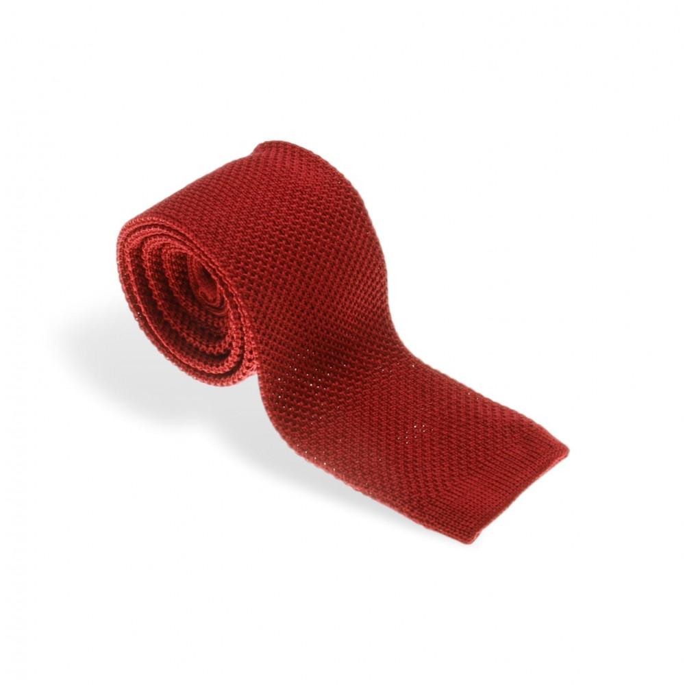 Cravate tricot rouge profond (cravate)