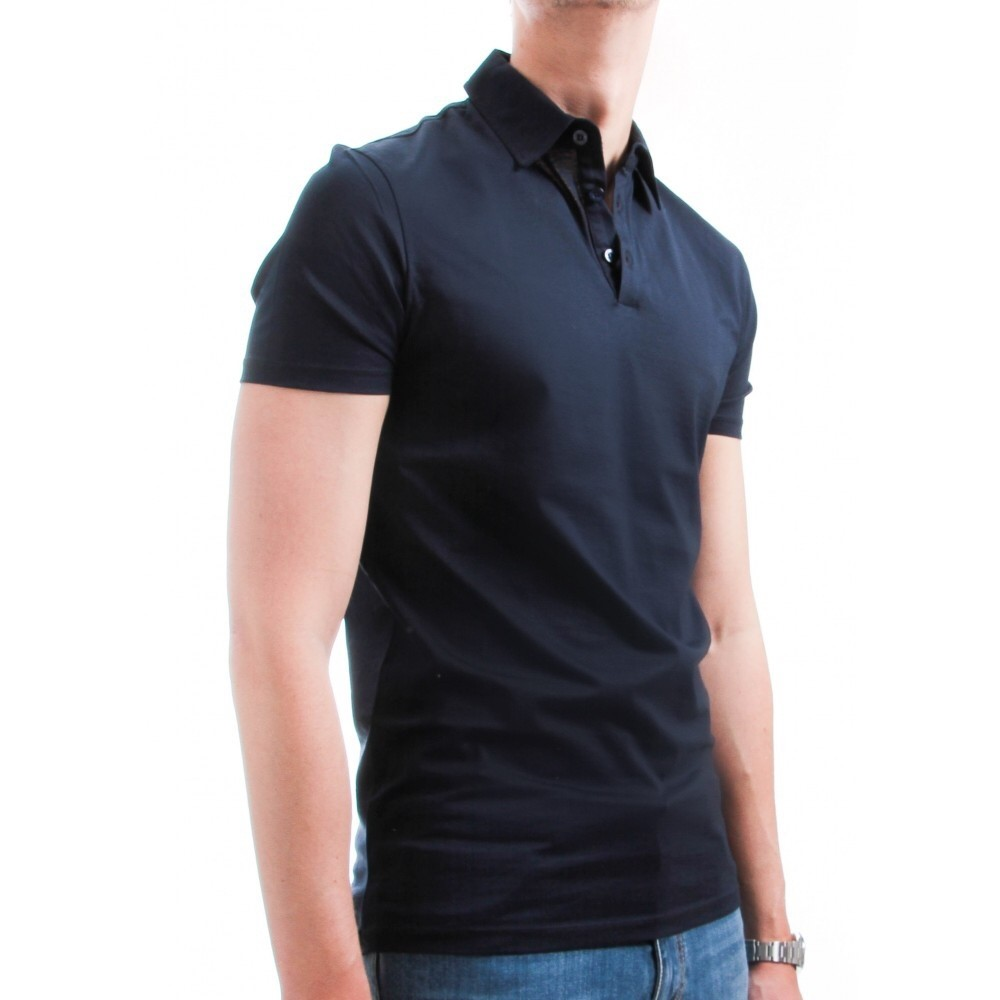 Polo homme fil d'ecosse marine