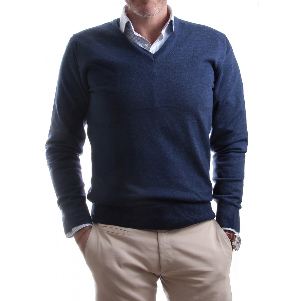 Pull Senza Toppe :  Bleu - Col V - Made in italy