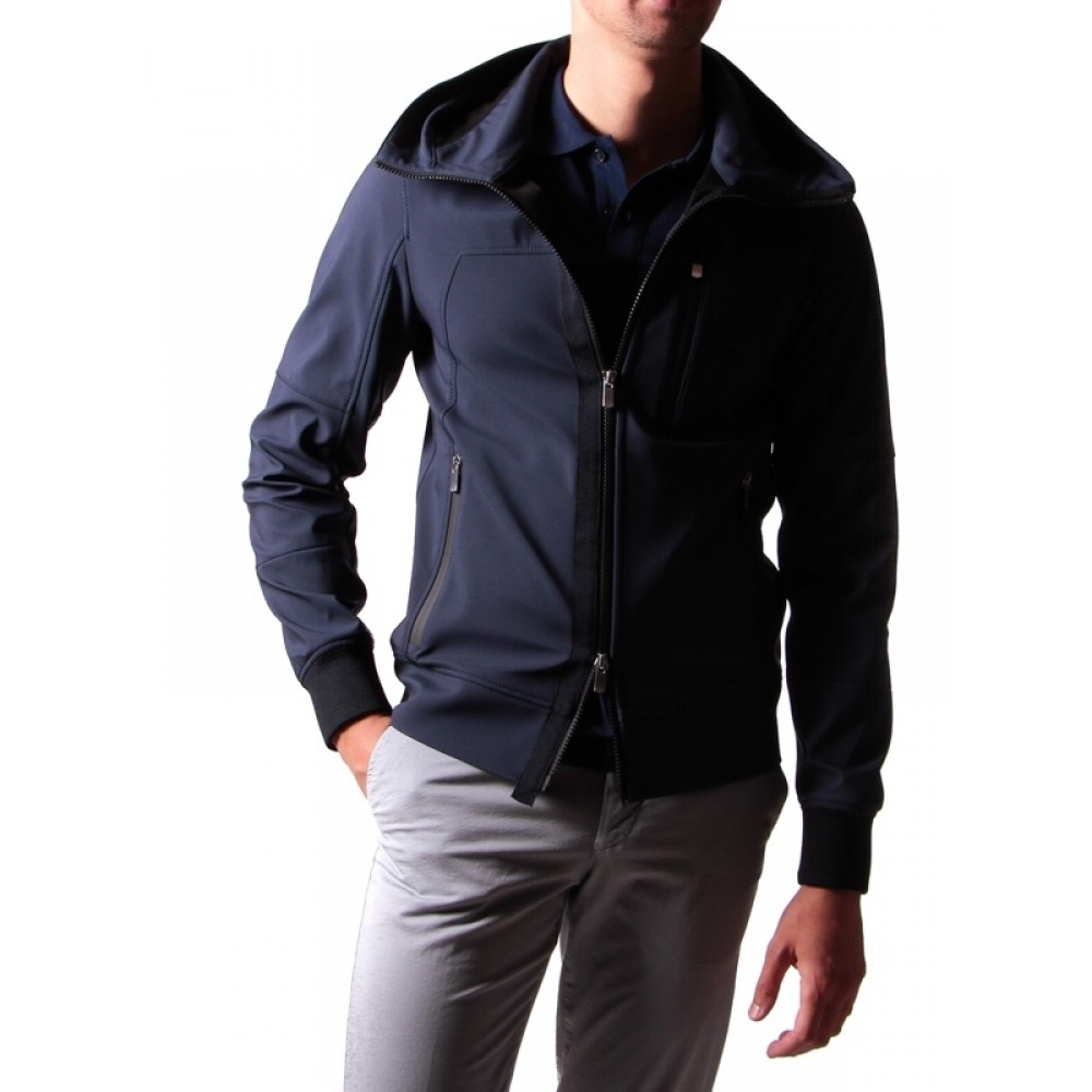 Blouson Technique : Bleu marine - Capuche - Made in Italy