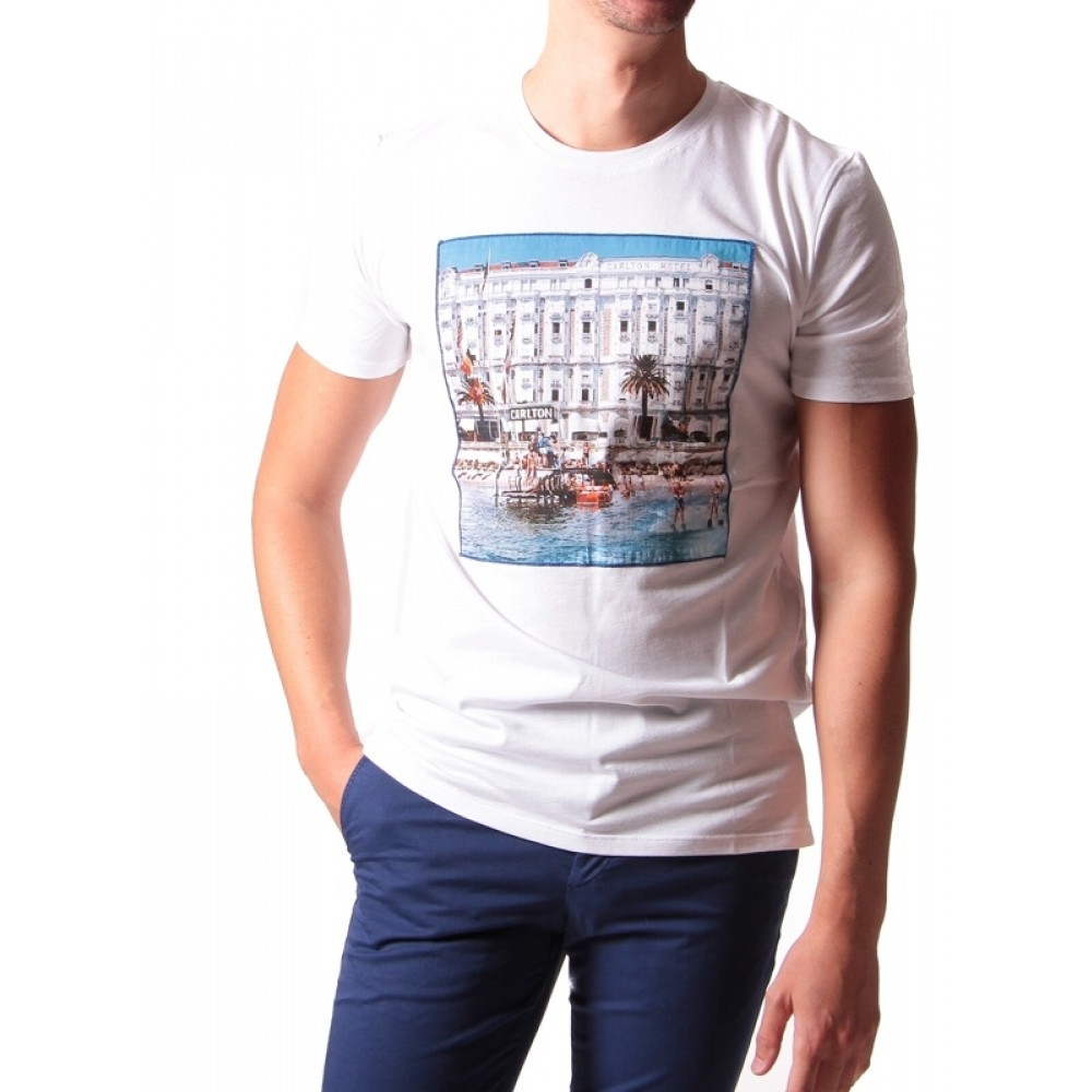 Tee-shirt Cannes : blanc - Jersey de coton - Carré imprimé cousu - Made in Italy