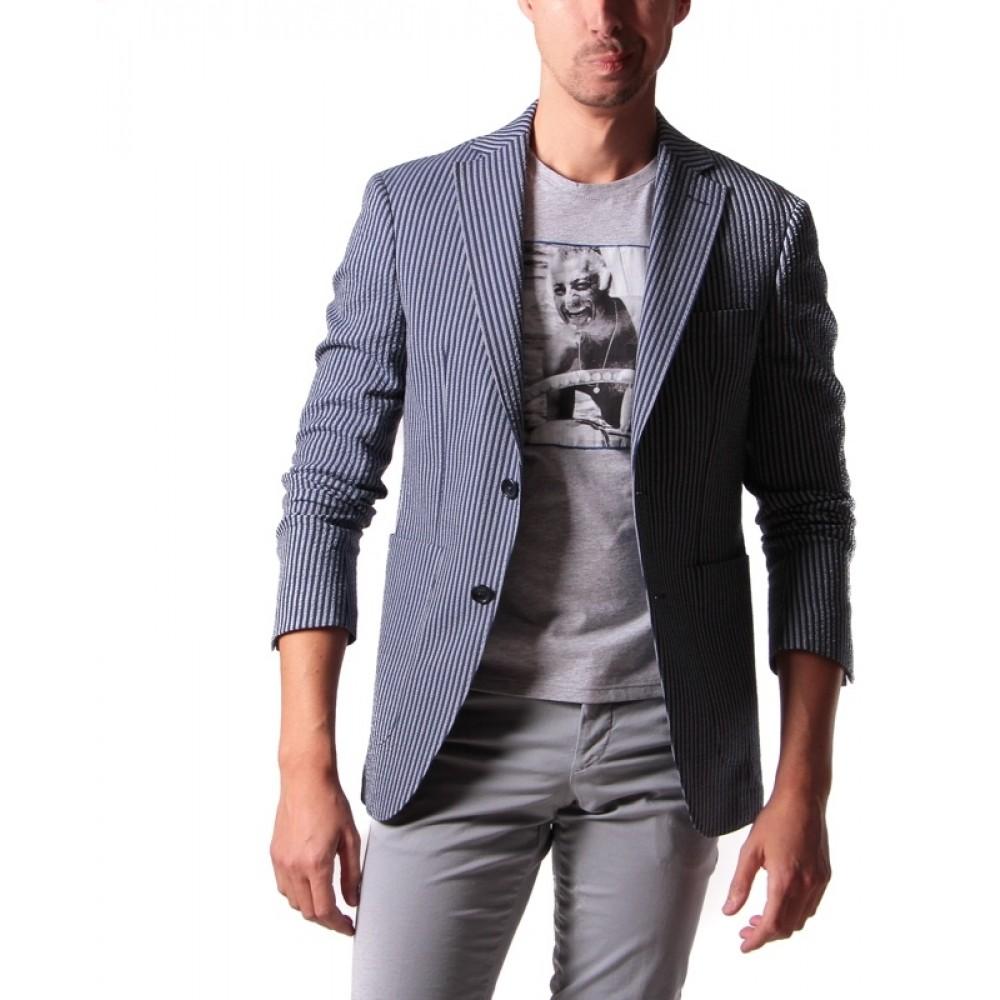 Veste Seersucker : Bleu et gris - Coton Elasthanne et Nylon - Tissu Subalpino