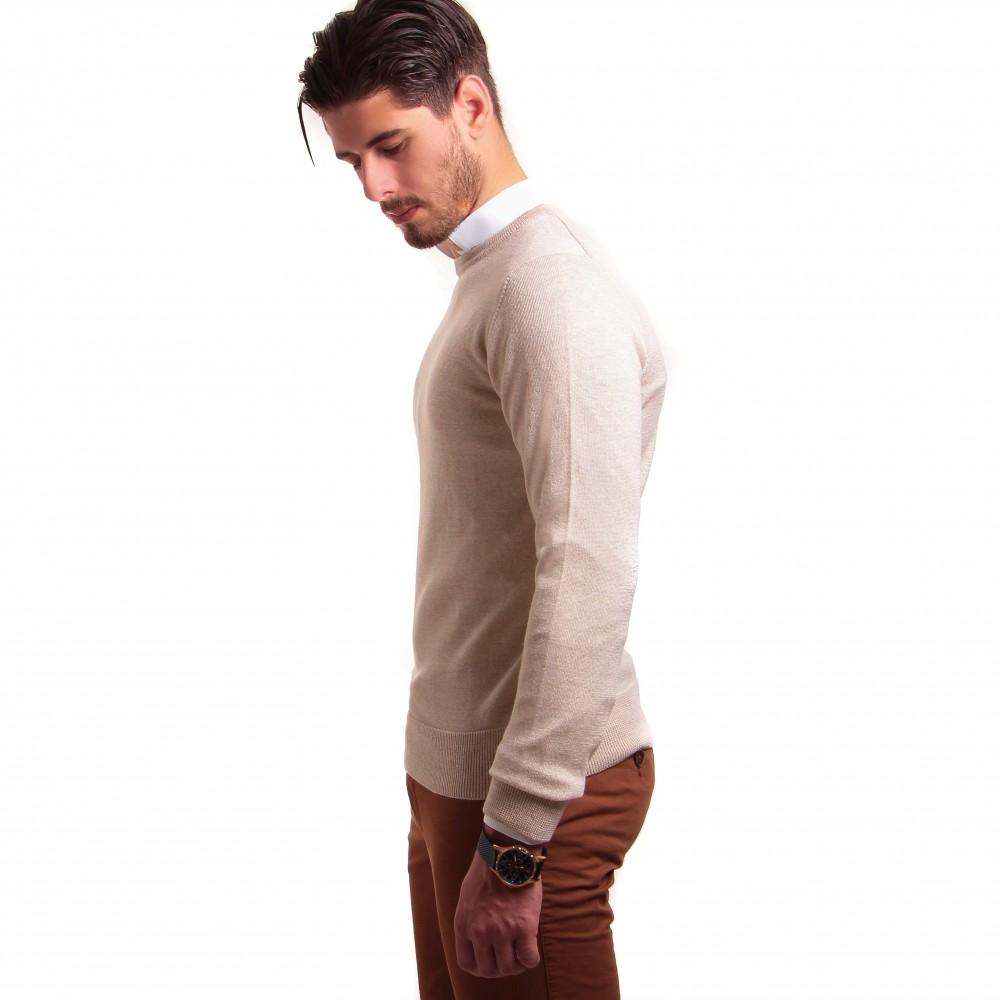 Pull : Beige - Col Rond - Pure laine Zegna Baruffa