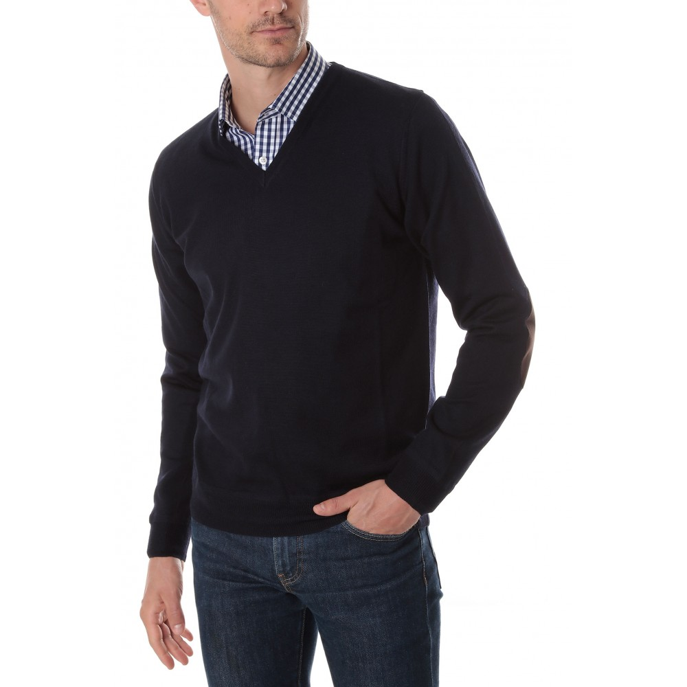 Pull :  Bleu marine - Col V - Made in italy