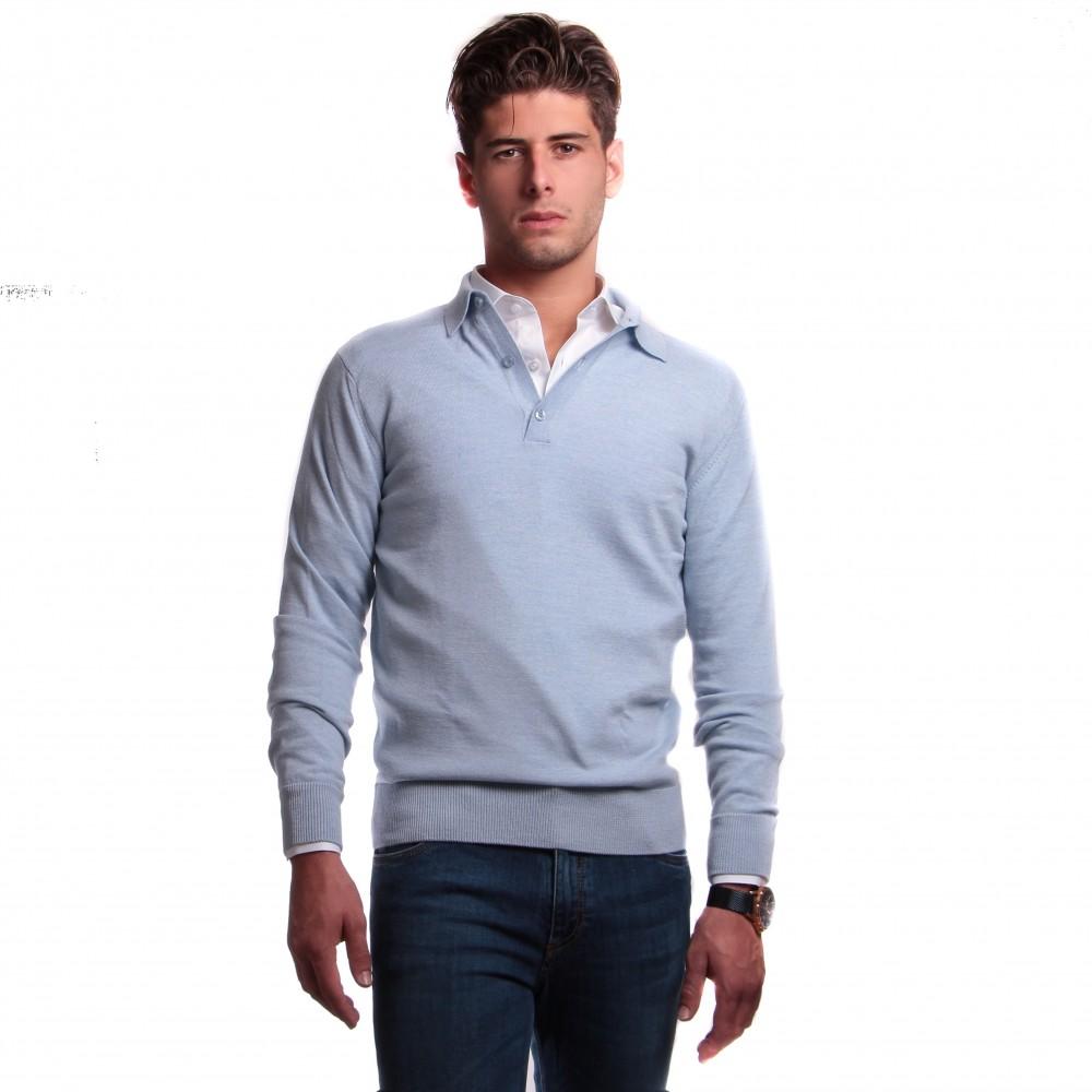 Pull col polo : bleu ciel - pure laine mérinos