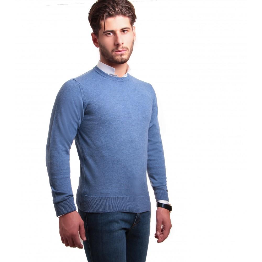 Pull : Bleu - Col Rond - Pure laine Zegna Baruffa