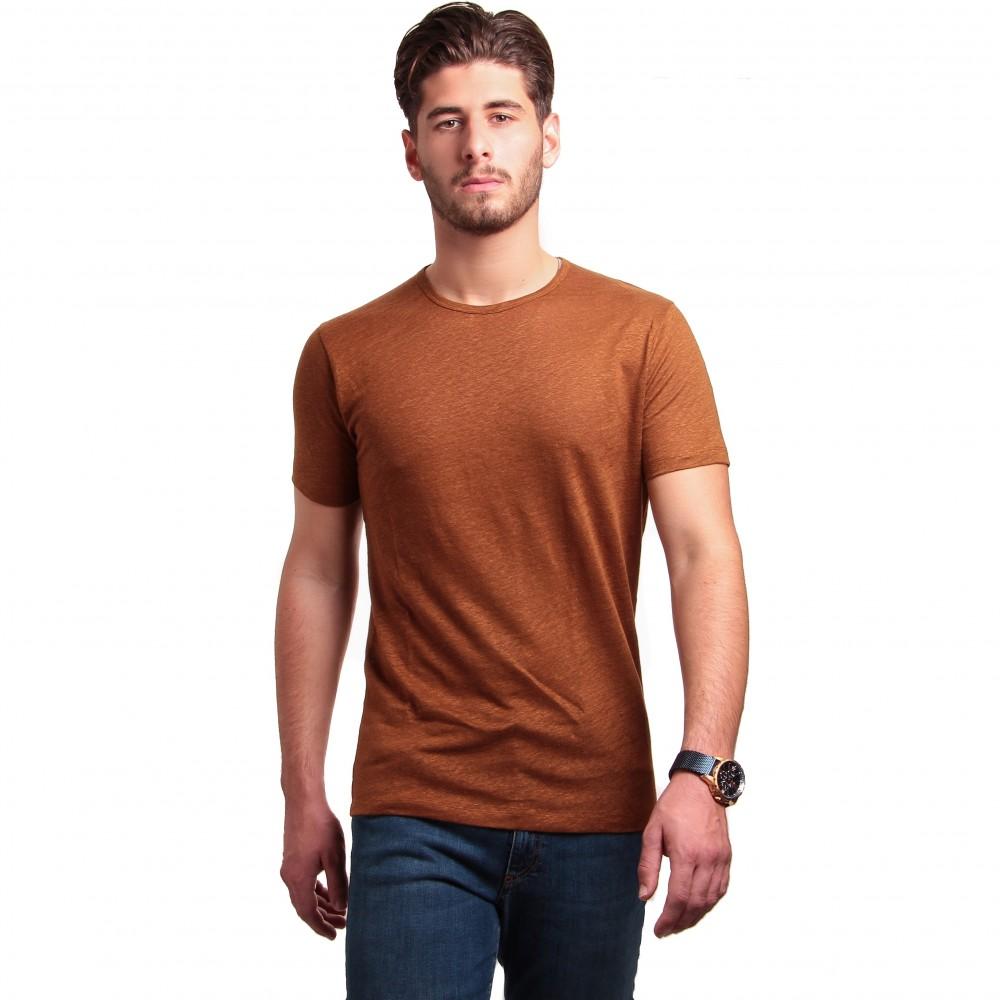Tee-shirt en lin : Noisette - Col rond - Manches courtes