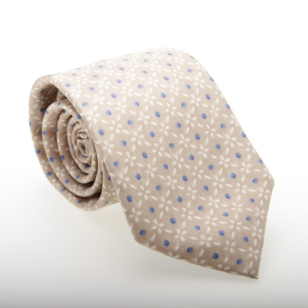 Cravate beige à pois