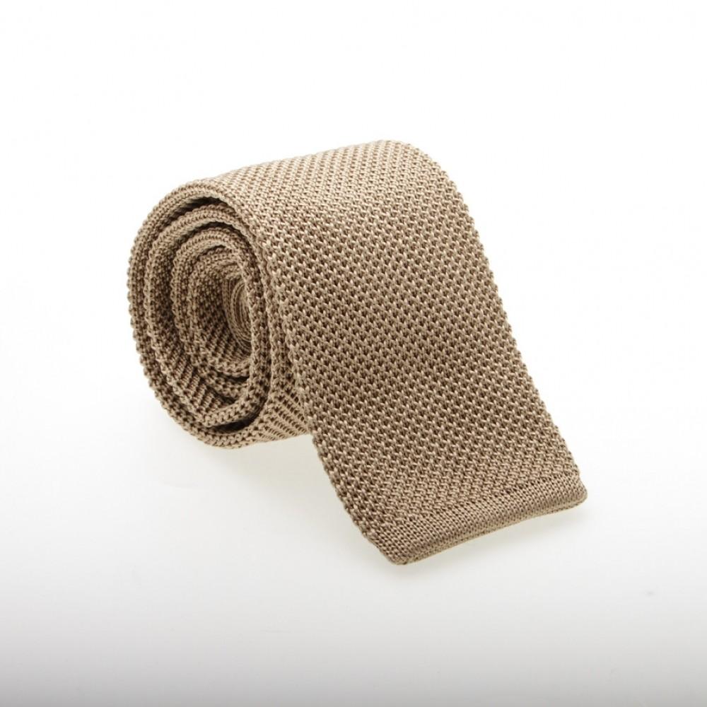 Cravate soie tricotée Beige