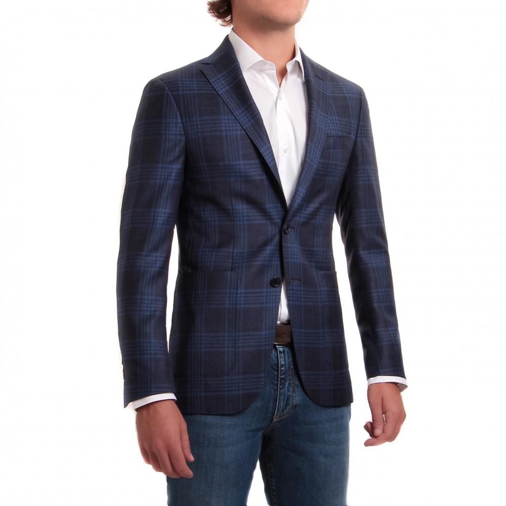 Veste : prince de galles bleu - laine et soie - tissu Zegna
