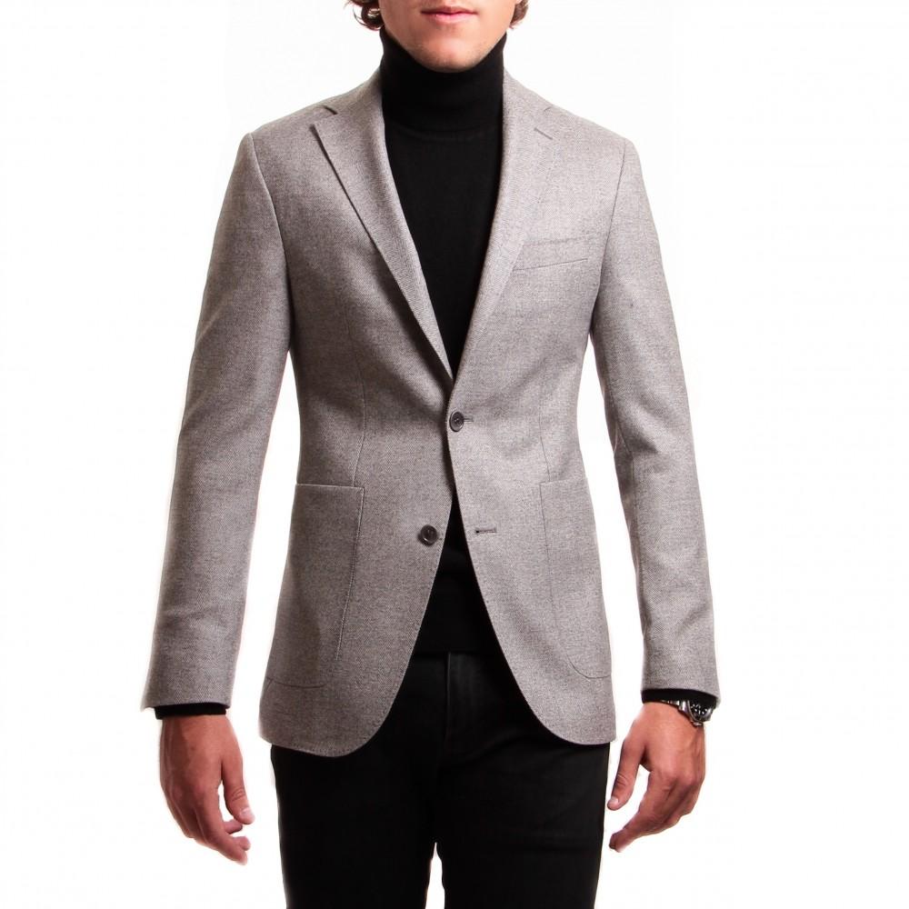 Veste : gris clair à chevrons - laine et cachemire - tissu Loro piana