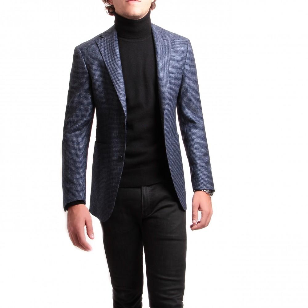 Veste : pied de puce bleu et noir - laine soie et cachemire - tissu Loro piana