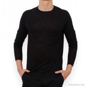 Tee-Shirt Noir - Manches Longues - Col Rond - Lin