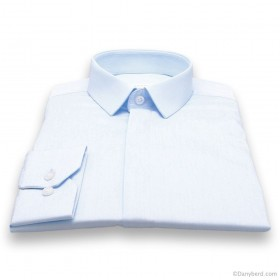 Chemise Roomy : Ciel - Slim-Cut - Micro col Cache-Boutons