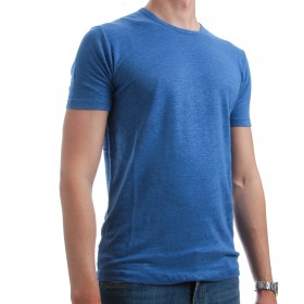 Tee-Shirt en Lin Lavé : Bleu - Manches courtes