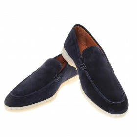 Mocassins : Marine - Veau Velours - Made in Italy