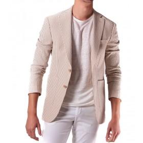 Veste Seersucker : Camel et blanc - Coton Elasthanne et Nylon - Tissu Subalpino