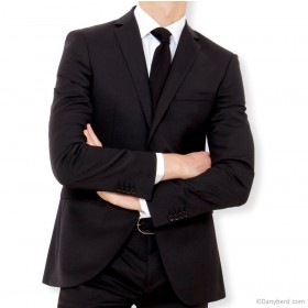 Costume Noir - Slim-Fit - Pure Laine - Tissu Canonico 110's