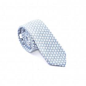 Cravate Coton et Soie : base ciel pois blanc
