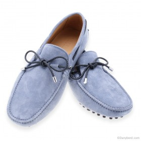 Mocassins : Bleu Ciel - Veau Velours - Made in Italy