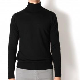 Pull Col roulé : noir - pure laine