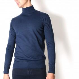 Pull Col roulé : bleu - pure laine