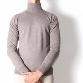 Pull Col roulé : beige - pure laine