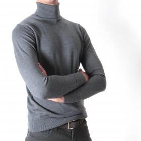 Pull Col roulé : gris - pure laine