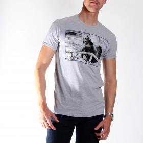 Tee-shirt Stampa  : gris -  coton