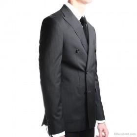 Costume base noire et rayures grises - Croisé - Pure laine - Tissu Canonico 110's