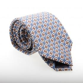 Cravate en soie : Base ciel - Motif fleuri blanc et marron