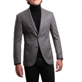 Veste : gris anthracite à chevrons - laine et cachemire - tissu Loro piana